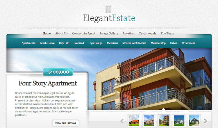 Elegant Estate - Best Real Estate WordPress Theme 2013