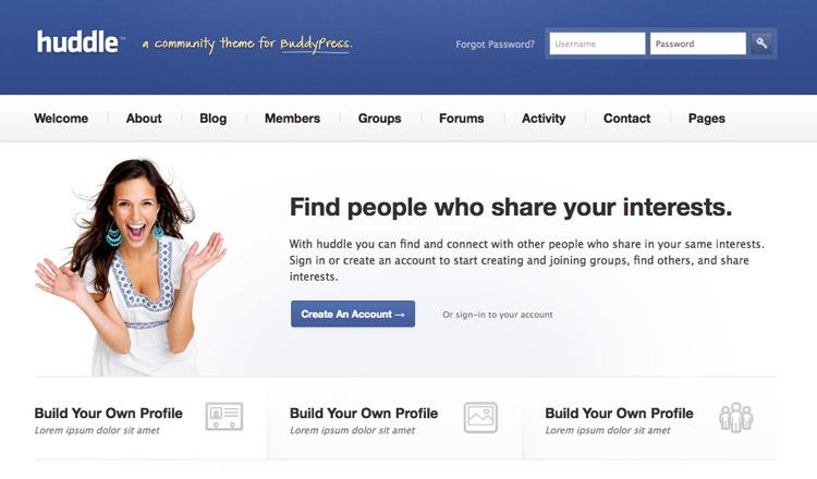 Huddle - Best BuddyPress WordPress Theme 2013