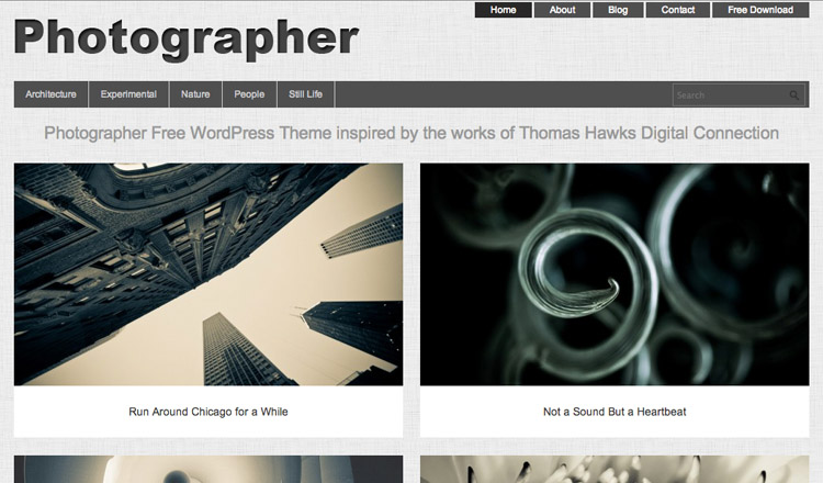 Photographer - Best Free Photography WordPress Theme 2013