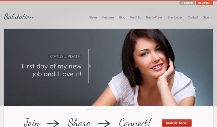 Salutation - Best BuddyPress WordPress Theme 2014