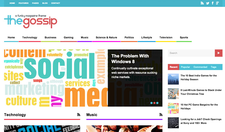 The Gossip - Best Magazine WordPress Theme 2013