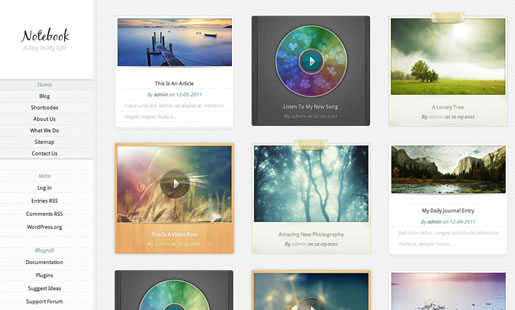 Notebook - Best Photography WordPress Theme 2012