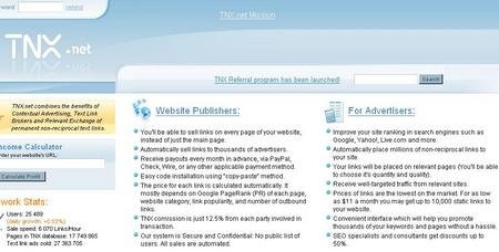 TNX Home page