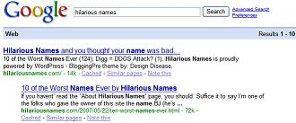 HilariousNames now ranks well in Google