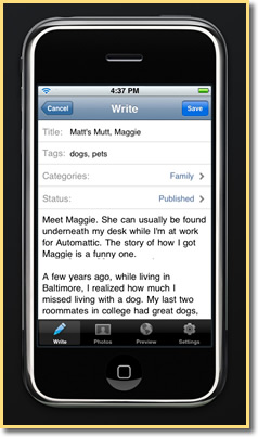 Wordpress for iPhone: Write A Post
