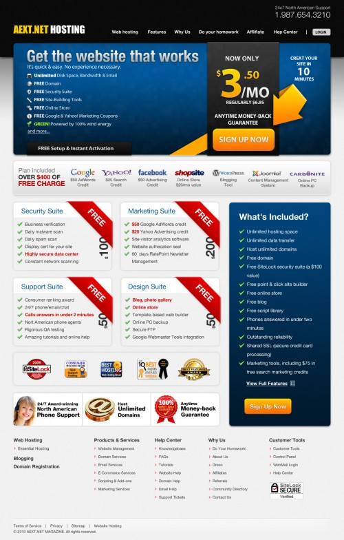 AEXT.NET High-Quality Modern Web Hosting PSD Template