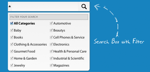 Search box with filter UI element