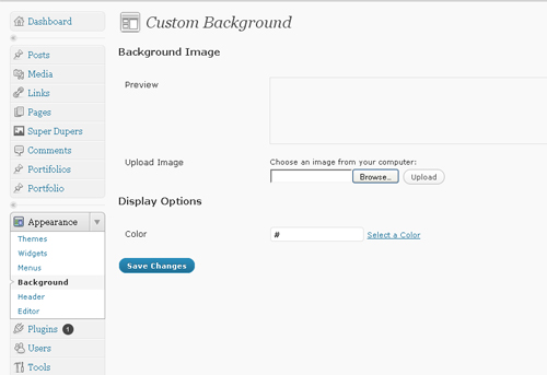 Wordpress Background Customization