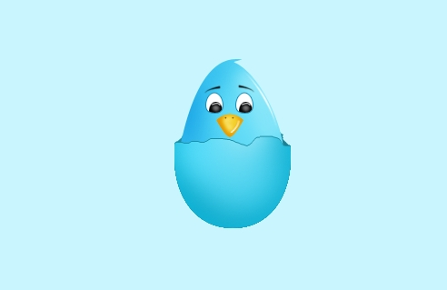 Twitter bird in the broken egg