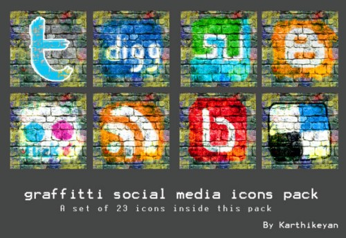 Graffitti Social Media Icons Pack