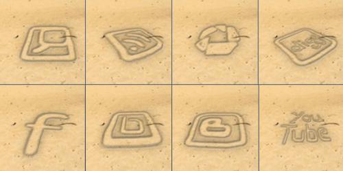 Sand Written Social Media Icons