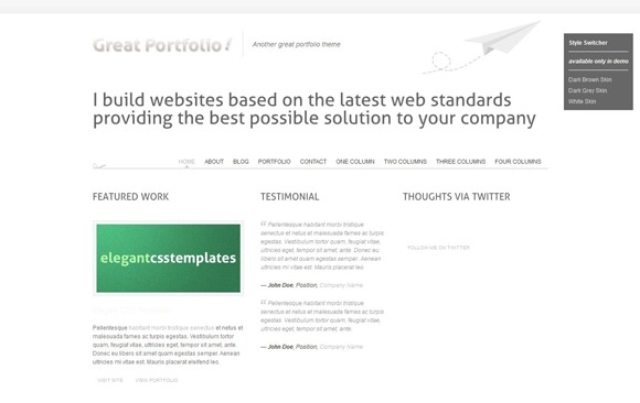 Great Portfolio - Single Page WordPress Theme 2012