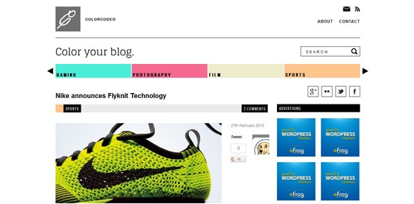 Color Coded - Single Page WordPress Theme 2012