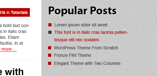 WordPress Layout in Photoshop - Popular Posts Widget Text Color