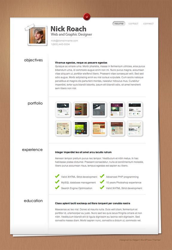 MyResume Premium WordPress Theme