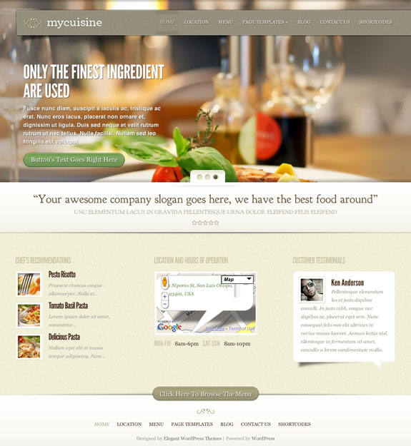 MyCuisine Premium WordPress Theme