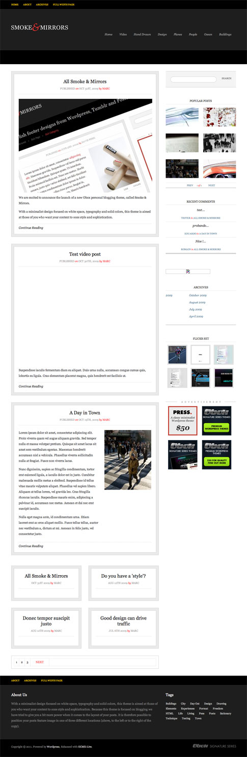Smoke And Mirrors Premium WordPress Theme