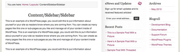 Example of the content/sidebar/sidebar layout configuration in Mocha premium WordPress theme