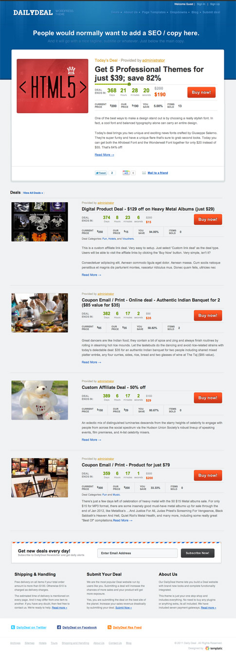 Daily Deal Premium WordPress Theme