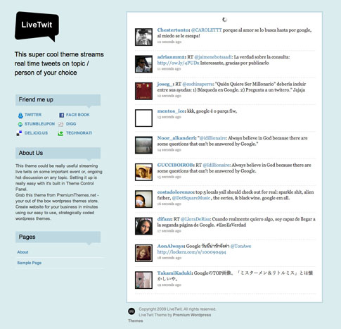 LiveTwit Free WordPress Theme
