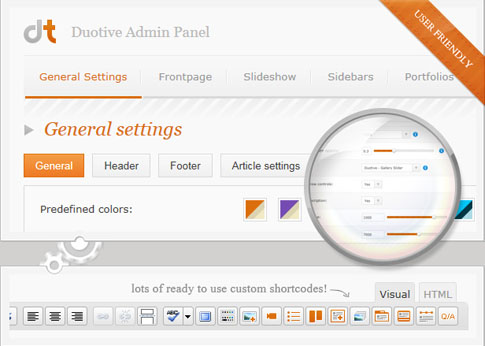 Preview of Duotive Three's incredible admin panel