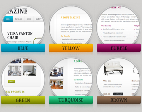 Preview of Mazine premium WordPress theme's six different color variations