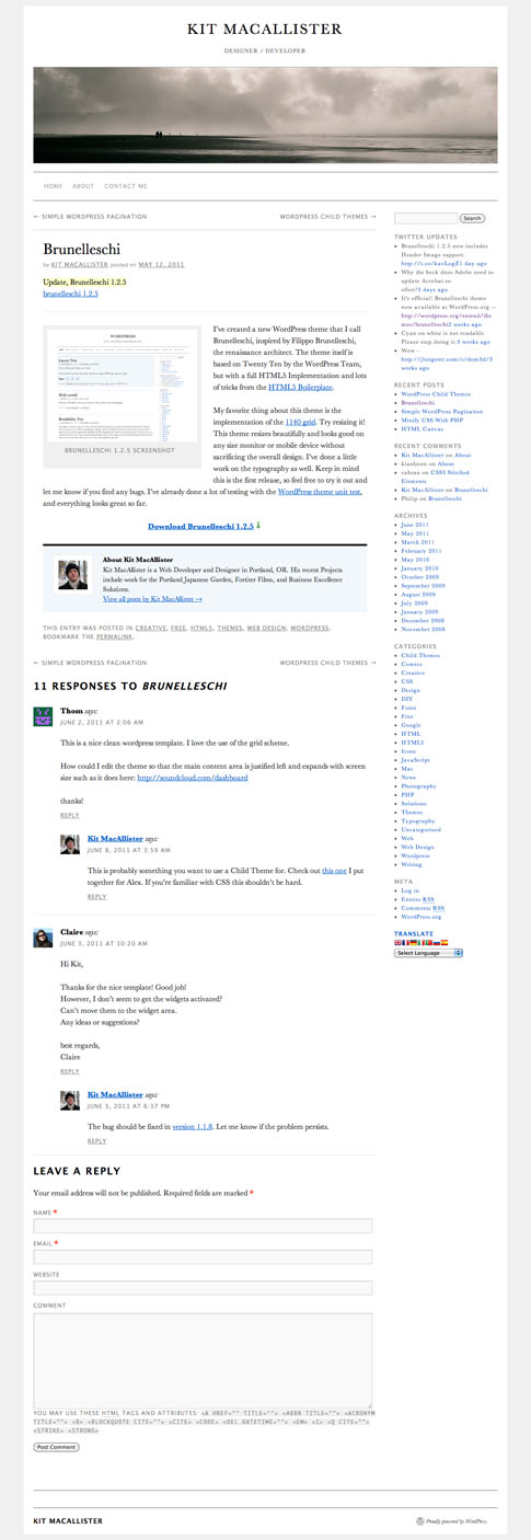 Brunelleschi Free WordPress Theme