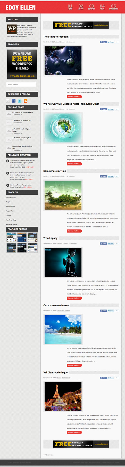 Edgy Ellen Free WordPress Theme