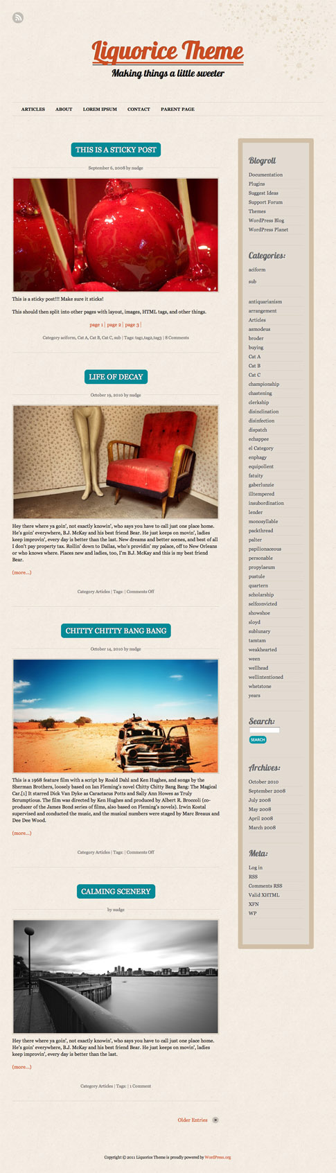 Liquorice Free WordPress Theme