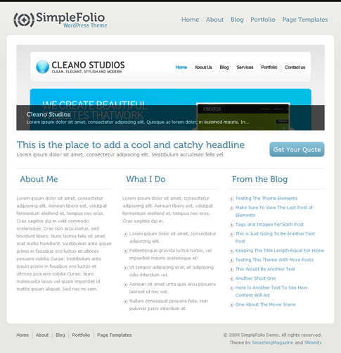 SimpleFolio Free WordPress Theme