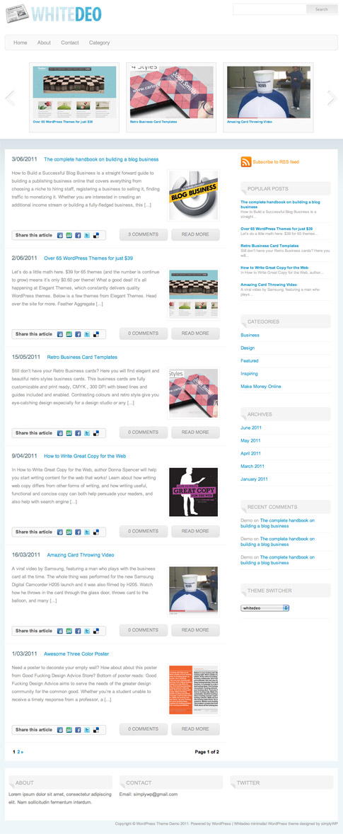 Whitedeo Free WordPress Theme
