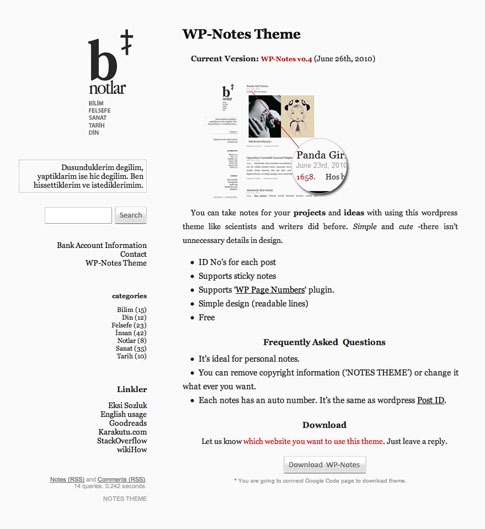 WP-Notes Free WordPress Theme