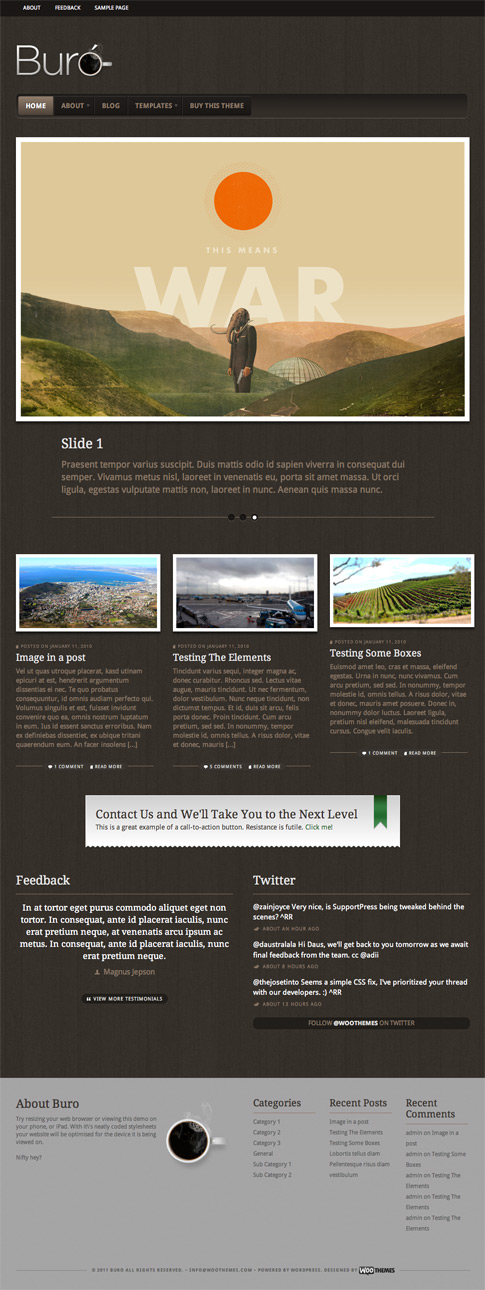 buro premium wordpress theme is woothemes 39 newest offering