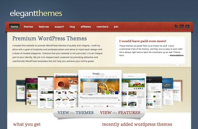 Old Design for ElegantThemes.com