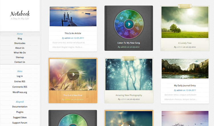 Notebook - Best Photography WordPress Theme 2013
