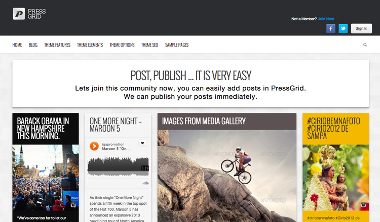 PressGrid - Best Magazine WordPress Theme 2013