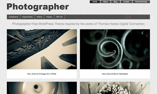 Photographer - Best Free Photography WordPress Theme 2012