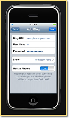 Wordpress for iPhone: Add A Blog