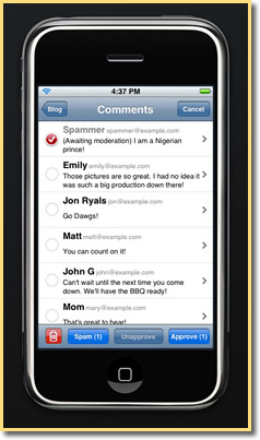 Wordpress for iPhone - Comments