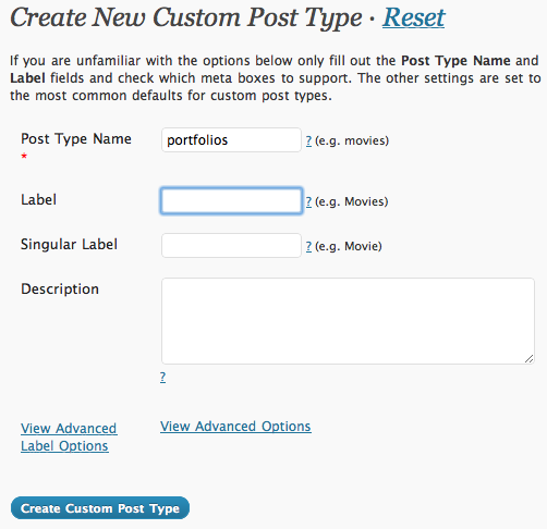 Creat new Custom Post Type