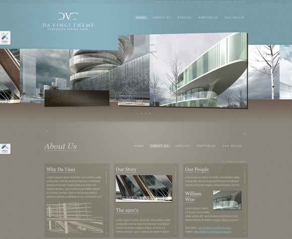 Davinci - Single Page WordPress Theme 2012
